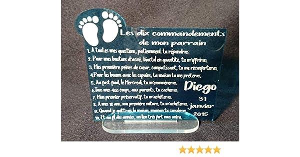 plaque cadeau motif pied b/éb/é pour parrain marraine papi mamie tonton tata les dix commandements couleurs au choix