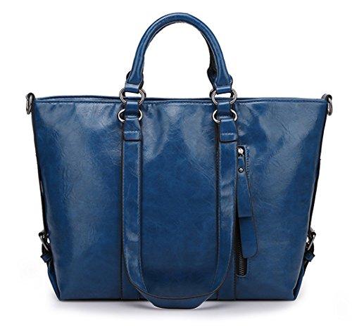 Greeniris PU-Leder Handtasche Damen Schultertasche Totes Tasche Weinrot Blau