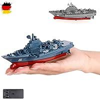 HSP Himoto RC teledirigido Mini buque de guerra, Portaaviones, Acorazado, Barco, Barco, Juego Completo con integr. Batería, control remoto, Nuevo, OVP