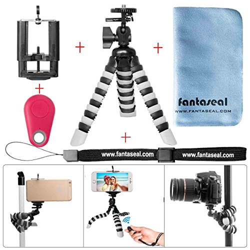 Fantaseal® 5-en-1 Mini 8'' Trépied Flexible en Bluetooth Ultraléger Robuste Multifonctionnel, Trépied de Table +Télécommande en Bluetooth +100mm Clip de Téléphone +Dragonne à main +Torchon à Nettoyer pour Nikon Canon Pentax Sony Panasonics Olympus Camera / Camcorder + Trail Camera+ iPhone 7+/ 7/ 6S+/ 6S/ 6+/ 6/ 5/ 5C/ 4S/ 4 +Samsung Nexus LG HTC Huawei ZTE Sony etc - ROUGE