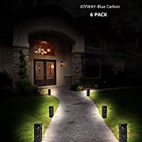 JOYWAY-Blue Carbon 6 Pcs Solar Powered LED Garden Lights,Warm WhiteAutomatic Led for Patio, Yard and Garden