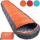 Polaris Schlafsack Mumienschlafsack Deckenschlafsack Camping Wandern Zelten - 210x75cm - ultraleicht 700g - Tragebeutel - dunkelblau/hellblau Farbwahl