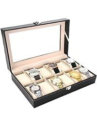 Autoark Leather 12 Watch Box Glass Top Watch Display Case Organizer,Balck,AAWU-022