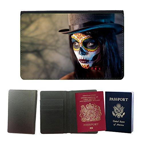 (PU Pass Passetui Halter Hülle Schutz // V00001716 Zucker Schädel Mädchen in tophat // Universal passport leather cover)