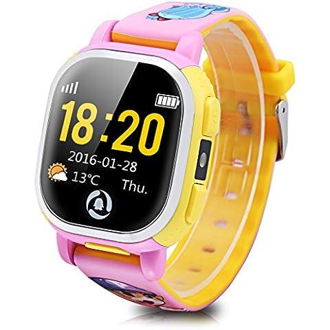 Tencent QQ - Smartwatch Pulsera de Reloj Infantil (Cámara, GPS, LBS, Wifi, Localizador Seguridad de Niños, SOS Llamada, Sim, Android IOS, IP65), Rosa
