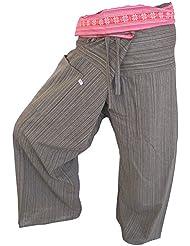 by soljo - Fisherman Pantalones Envuelva deporte Yoga Fisherpant ravon Tailandia Asia 16 colores (marron)