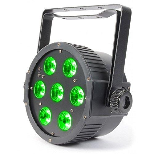 BeamZ FlatPAR Negro - Accesorio de discoteca (Negro, LED, 7 lámpara(s), 18 W, Ámbar, Azul, Verde, Rojo, Ultravioleta (UV), Blanco, 10 canales)