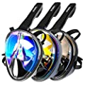 Enkeeo Full Face Snorkel Mask UV Protection Anti-Glare Anti-Fog Watertight 180°Panoramic View, with Waterproof Phone Case, GoPro Compatible Band, Extra Straps and Mesh Bag