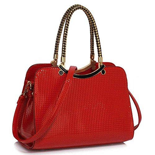 TrendStar Damen Stilvolle Ergreifen Sie Schultertasche Frauen Entwerfer Faux Leder Promi Art-Tasche Rot Taschen