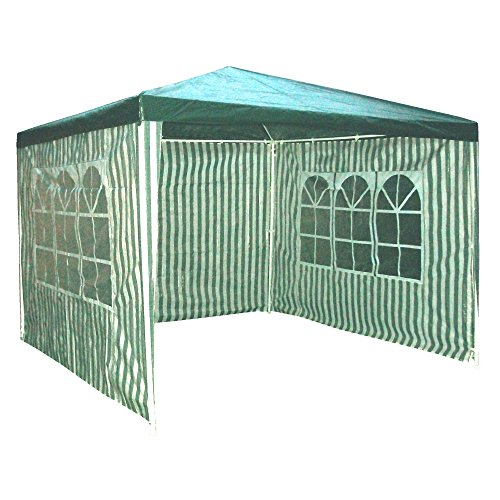 Redstone Gazebo 3x3m – Green & White Stripes