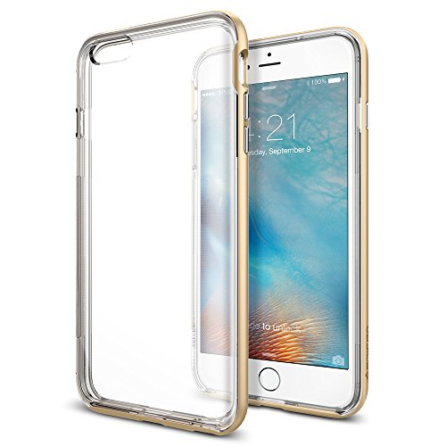 Spigen SGP11670 Neo Hybrid EX Custodia per iPhone 6S Plus, Blu Elettrico NHC_Champagne Gold