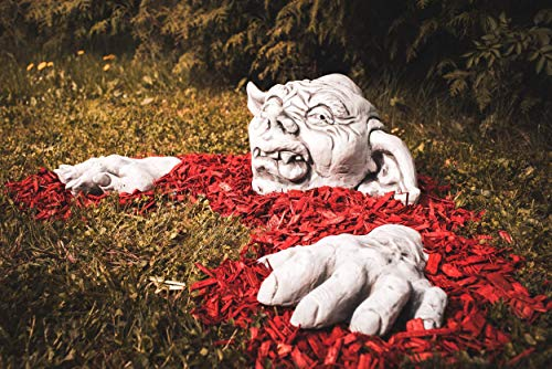 old Steinfigur frostfest Deko Garten Balkon Gartenfigur Gargoyle Yoda Halloween ()