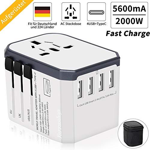 Reiseadapter Reisestecker Weltweit 224+ Ländern Universal Travel Adapter 4 USB +Type C...