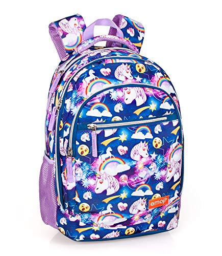 Emoji Unicorno 30873 Zaino 3 Zip, 45 Centimetri, Poliestere, Multicolore