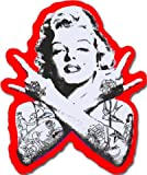 Punk Marilyn Monroe Aufkleber für Skateboards, Snowboards, Scooter, BMX, Mountain Bikes, Laptops, iPhone, iPod, Gitarren etc. (rot)