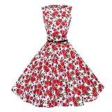 SEWORLD 2018 Damen Mode Frauen Vintage Blumen Bodycon Ärmellose Beiläufiges Abend Partei Abschlussball Schwingen Retro Hepburn Stil Taille Halloween Kleid (A-a-Rot,EU-40/CN-L)