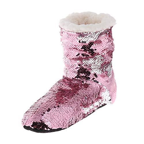 B Baosity Winter Wolle Warme Winterhausschuhe Fleece Hausschuhe Pailletten Hausstiefel für Frauen Mädchen - Weiß + Rosa, 26 cm
