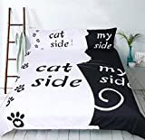 Dog/Cat Side Printing Polyester 3 Pieces Duvet Cover Bedding Sheet Set With 1*Duvet Cover 2*Pillowcase, Twin Full Queen King Size,A,King