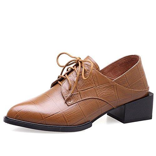 Jqdyl High Heels Damen Einzel Schuhe Ferse Spitze Wild Jahreszeiten, Erde Gelb, - Frauen Erde-schuh-sandalen