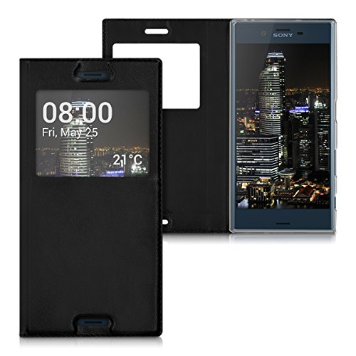 kwmobile Flip Case Hülle für Sony Xperia XZ mit Sichtfenster - Aufklappbare Kunstleder Schutzhülle im Flip Cover Style in Schwarz