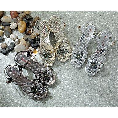 LvYuan Da donna Sandali Comoda PU (Poliuretano) Estate Comoda Piatto Oro Argento Grigio 5 - 7 cm Silver