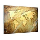 Bilderdepot24 Memoboard 60 x 40 cm, Interieur - Weltkarte - Memotafel Pinnwand - Welt - Ansicht - Landkarte - Land - Ozean - World Map - Karte - Geographie - Globus - Wohnzimmer - Küche - Handmade
