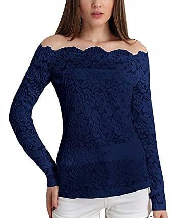 zanzea sexy damenshirt mit blumenmuster und spitzen schulterfrei top bluse lange rmel. Black Bedroom Furniture Sets. Home Design Ideas