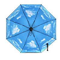 UV Protection Compact Umbrella, Oenbopo Foldable Sun Protection Parasol UPF Block Umbrella Travel Umbrella Manually Rain Windproof Anti-UV Star Flower Umbrella (Blue SKy)