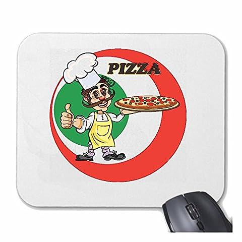 """Tapis de souris Mousepad (Mauspad) """"BAKERS PIZZA PIZZA PIZZA APPORTENT SERVICE DE LIVRAISON DE SERVICE COOK PIZZA DRIVER MOZZARELLA HAM"""" pour votre ordinateur portable, ordinateur portable ou PC Internet .. (avec Windows Linux, etc.) à White"""