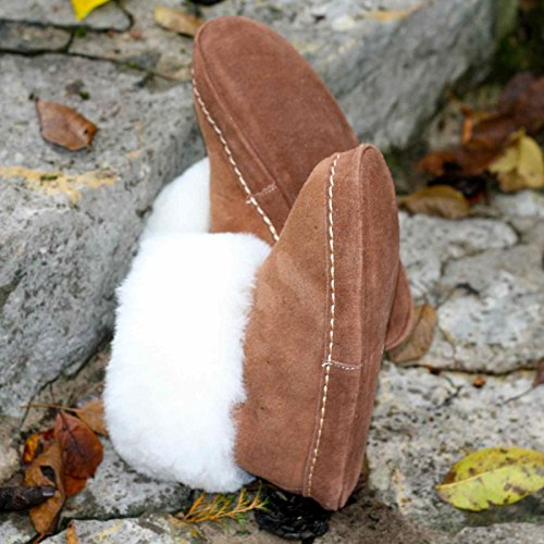 Lammfell Mokassin Espaniol braun mit weißem Fell Braun