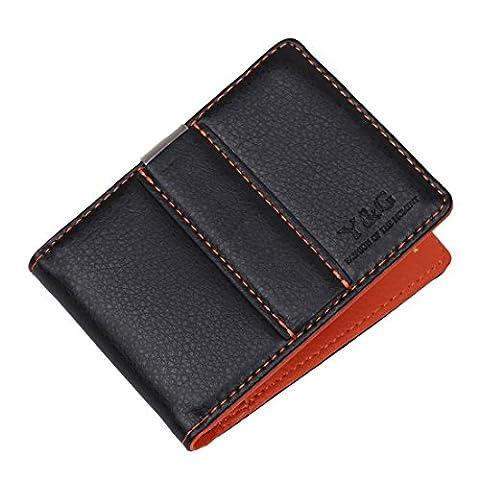 YCM15A02 Orange Porte-monnaie en cuir clip en acier inoxydable argent