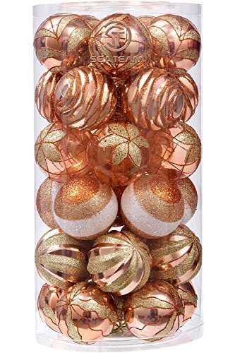 "Sea Team 70mm/7cm Dekorative Bruchsichere Malerei & glitering Designs Christmas Ball Ornaments Set, 30er, plastik, kupfer, 70mm/2.76"""