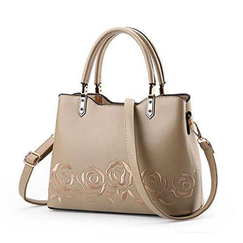 Dame Fashion Umhängetasche Handtasche Messenger Bag Rose Stickerei Temperament Weibliche Tasche F