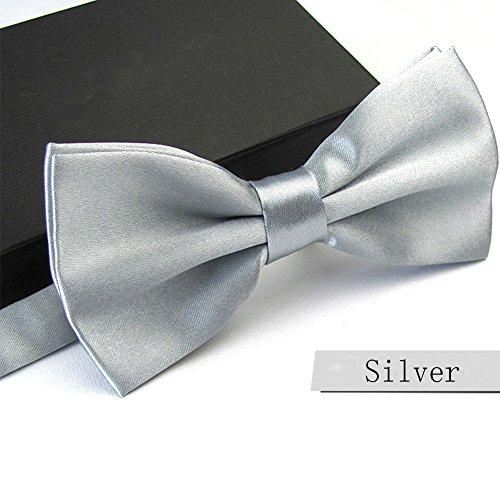 GSCH uomo Fashion Solid Color Bowties festa di nozze Pre-legato Bow tie (Argento)