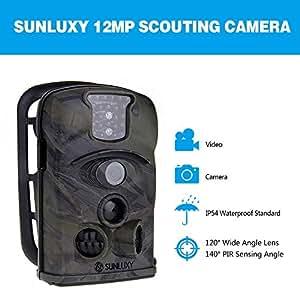 SUNLUXY® 12MP 120°Trail Caméra de Chasse Surveillance Vidéo Numérique Imperméable Observation Animaux Traque 4GB SD IR Infrarouge Nocturne Etanche