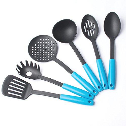 jecxep Lot de 6ustensiles de cuisine en nylon résistant à la chaleur en nylon surélevée de cuisine Ustensiles de cuisson 6 bleu