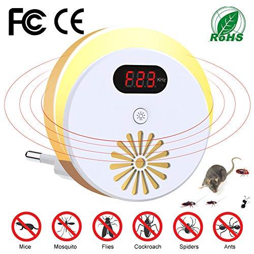 Laluztop Repelente Ultrasónico de Control de Plagas, Repelente Electrónico con Pantalla Digital y Luz Nocturna, Control de Ratones/Moscas/Mosquitos/Hormigas/Bichos/Cucarachas