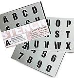 3cm Alphabet Schablone Buchstaben/Zahlen 0–9 auf 3 x Blatt 20 x 14.8cm MODERN Großbuchstaben