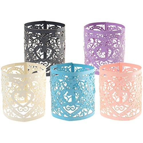 ofoen Packungen, die 30-teilig Kerze Teelicht Packungen weiß Laser geschnitten Dekorative Packungen für Hochzeit Party Tisch Dekoration, 5Farben