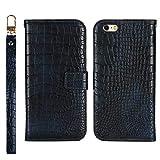BoxTii Coque iPhone 6 / iPhone 6S, Coque en Cuir Crocodile Motif, Housse Magnetique avec Lanière et Gratuit Protection D'écran en Verre Trempé pour Apple iPhone 6 / iPhone 6S (Bleu)