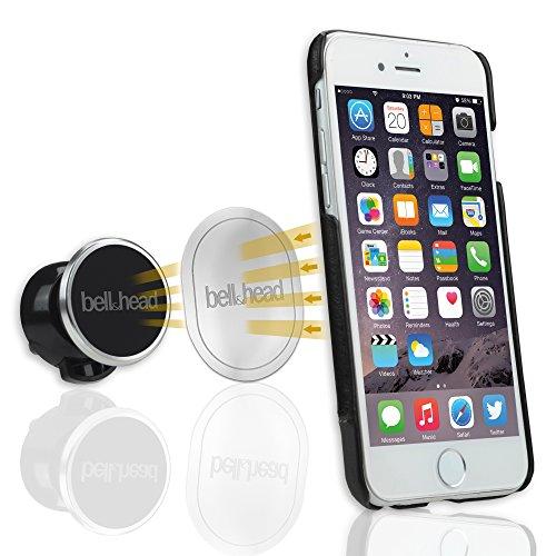 bell & head puck Universal Magnet KFZ Handy Halterung rund für Lüftungsschlitze im Auto - Handyhalter magnetisch in schwarz/silber für gängige Smartphones wie iPhone 5 / 5s / SE / 6 / 6s / 7 / Plus, Samsung Galaxy S6 / S7 / S8 edge
