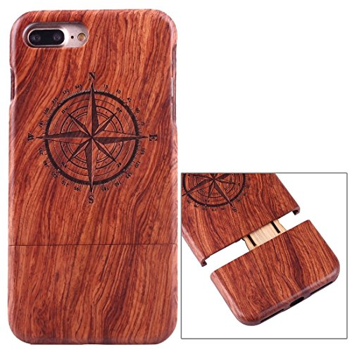 iPhone Case Cover Pour iPhone 7 Plus Séparable Sculpture Artistique Tiger Head Pattern Rosewood Boîtier Étui de Protection ( SKU : Ip7p1450r ) Ip7p1450h