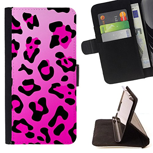 BOOK CASE - FOR Sony Xperia Z5 compact / mini - Pink and black tiger prints - Folio PU Wallert Leather Case Tiger-print Mini