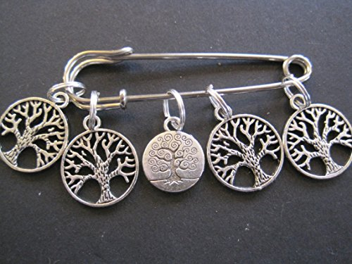 Tree of Life Coins - Silver Knitting Stitch Markers by Charmed Knitting