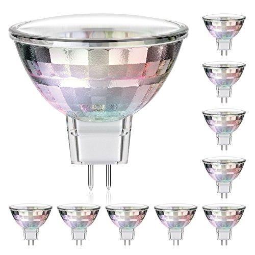 10x GU5.3 spot LED de parlat (lampe MR16, lumière blanche-chaude, 2 Watt, 120 Lumen, 12 Volt AC)