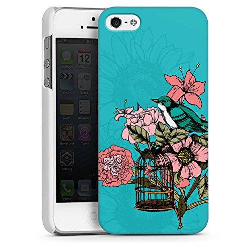 Apple iPhone 4 Housse Étui Silicone Coque Protection Oiseau Fleurs Fleurs CasDur blanc