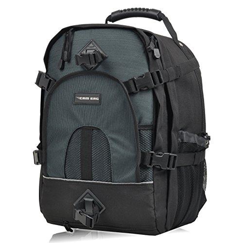 XL Borsa Photo Zaino CAMBAG DAYTON DAYTON per DSLR, con scomparto laptop chilo in più di 36 cm x 28 cm x 5 cm, per treppiede, protezione pioggia, vano portacasco, di colore grigio nero
