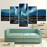 mmwin Lienzo HD Imprimir 5 Unidades Ciudad Montañas Y Llanuras Aurora Paisaje para Moderno Dormitorio Decorativo Sala de Estar Arte de Pared Decoración
