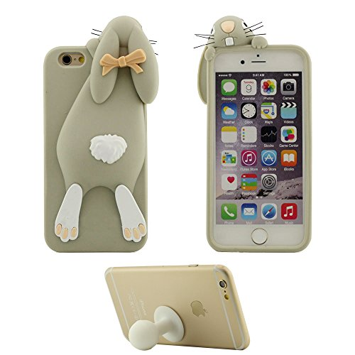 Élégant Coque Housse de Protection pour Apple iPhone 7 4.7 inch Doux Silicone Case Anti choc Couverture arrière Mignonne Chiot Chien Cyan avec 1 Silicone Kickstand gris