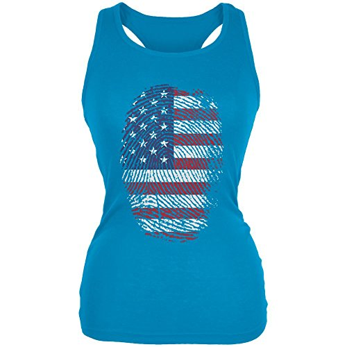Old Glory 4. Juli American Flag Stolz Daumenabdruck Juniors Soft Tank Top Türkis SM (Juniors Stolz T-shirt)